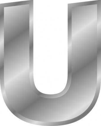 Effect Letters Alphabet Silver U clip art