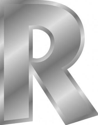 Effect Letters Alphabet Silver R clip art