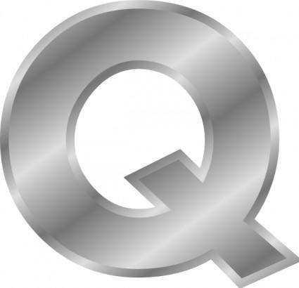 free vector Effect Letters Alphabet Silver Q clip art