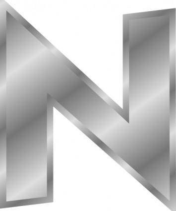 Effect Letters Alphabet Silver N clip art