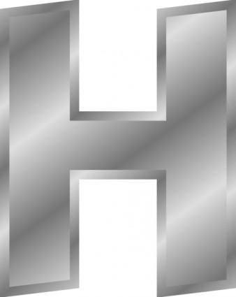 free vector Effect Letters Alphabet H Silver clip art