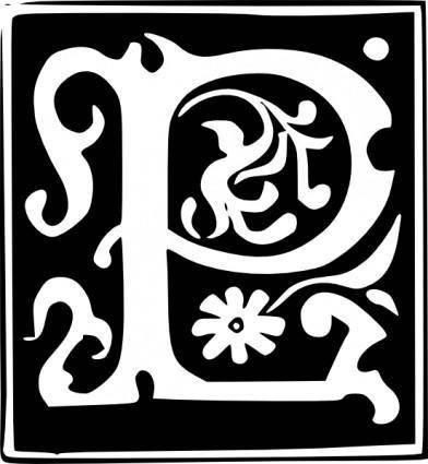 free vector Decorative Letter Set P clip art