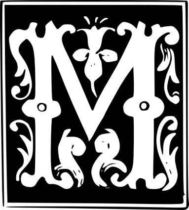 Decorative Letter Set M clip art
