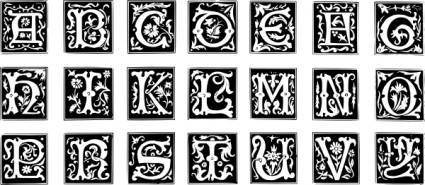 Decorative Letter Set clip art