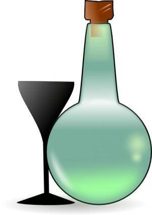 Bottle Of Absinthe And Cup clip art