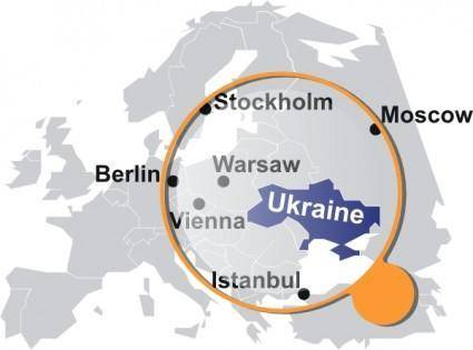 free vector Ukrainian Map Under Magnifier clip art