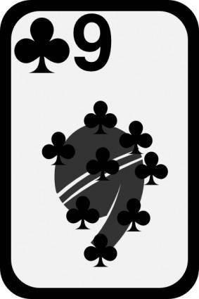 free vector Nine Of Clubs clip art