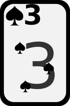free vector Three Of Spades clip art