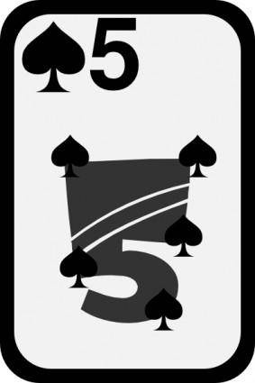 free vector Five Of Spades clip art