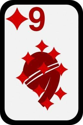 free vector Nine Of Diamonds clip art