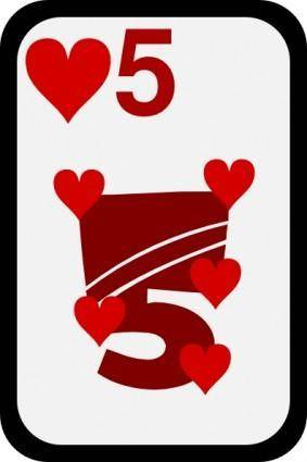 Five Of Hearts clip art