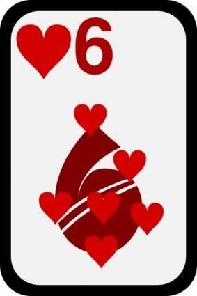 free vector Six Of Hearts clip art