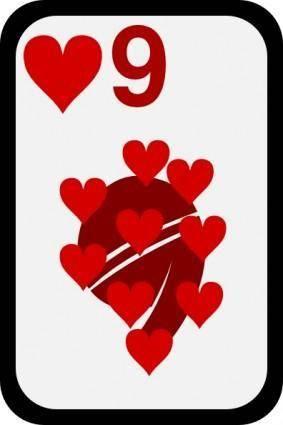 free vector Nine Of Hearts clip art