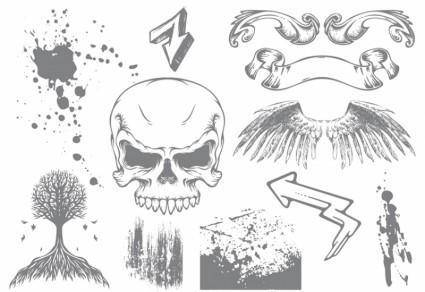 Skull & Wings Grunge Vector Pack