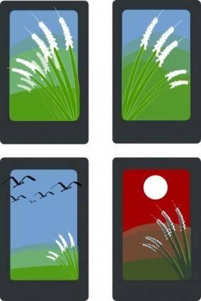 free vector Hanafuda Playing Cards clip art