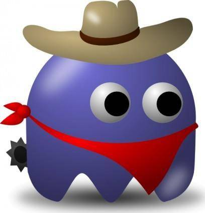 Pcman Game Baddie Cowboy clip art