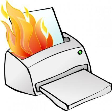 Printer Burning clip art