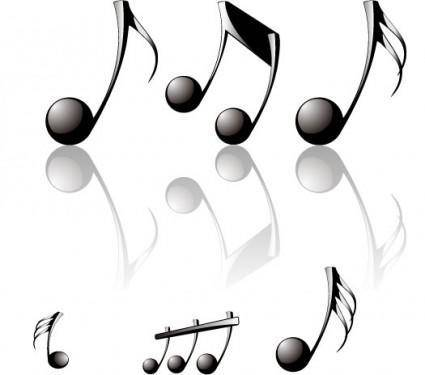 Threedimensional musical notes vector