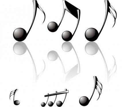 Threedimensional musical notes vector