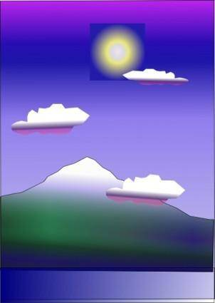 free vector Snow Capped Mountain And The Sun clip art