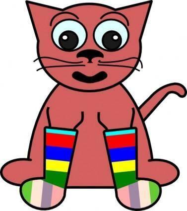 Cartoon Cat In Rainbow Socks clip art