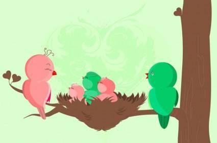 free vector Baby Birds Birth Card