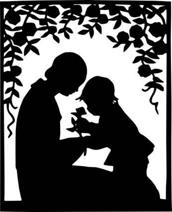 Mother And Child Silhouette clip art
