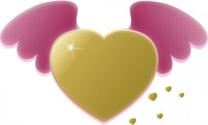 Gold Heart With Pink Wings clip art