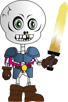free vector Skeleton Holding Sword clip art