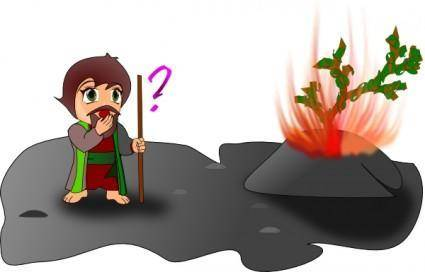 free vector Moses And The Burning Bush Chibi Version clip art