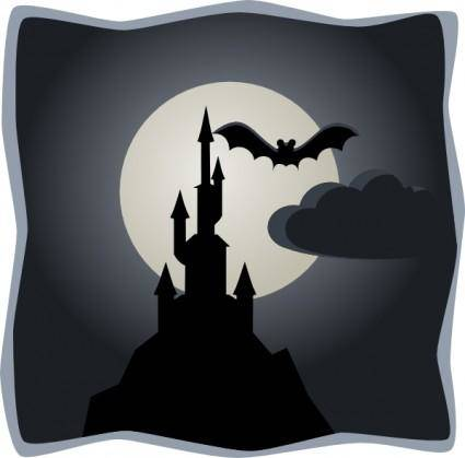 free vector Spooky Castle In Full Moon clip art