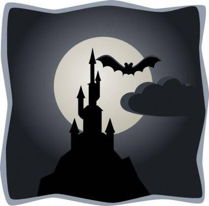 Spooky Castle In Full Moon clip art