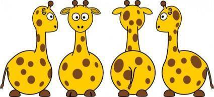 Tobias Cartoon Giraffe Front Back And Side Views clip art