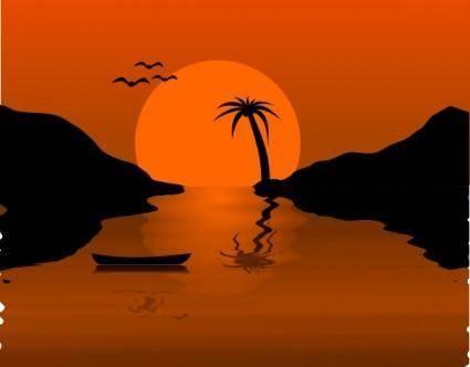 free vector Sunset Water Scene clip art