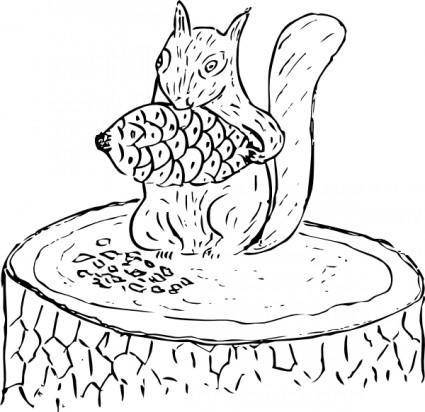 Squirrel Eating Pine Cone clip art