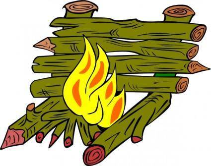 Fire Catching Wood clip art