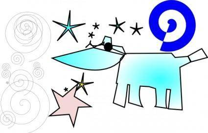Cow And Stars clip art