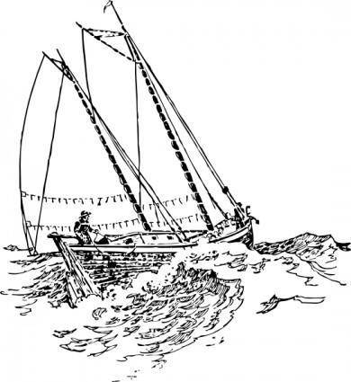 Boat Sailing In Strong Waves clip art