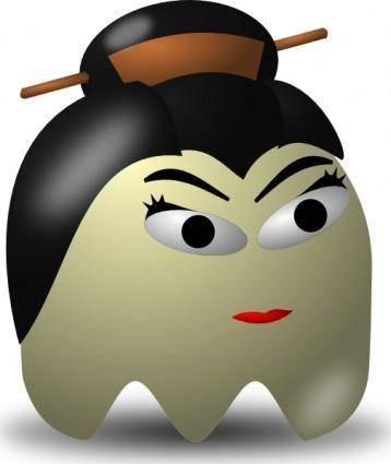Pcman  Game Baddie Geisha clip art