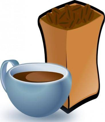 free vector Cup Of Coffee With Sack Of Coffee Beans clip art