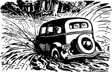 Car Splashing Into The Pool clip art