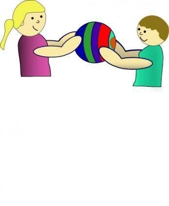 Nlyl Children Sharing A Ball clip art
