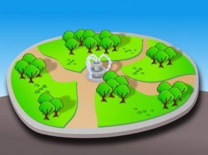 Cartoon 3d Park clip art