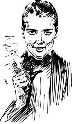 free vector Pipe Smoking Man clip art