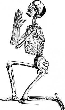 free vector Praying Skeleton clip art