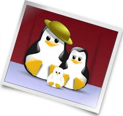 Happy Penguins Family Photo clip art