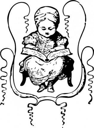 Little Girl Reading clip art