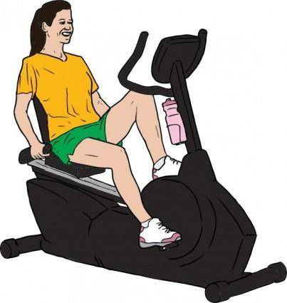 free vector Woman On Exercise Bike clip art
