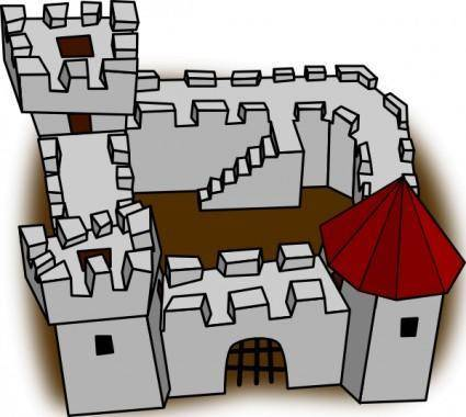 free vector Ugly Non Perspective Cartoony Fort Fortress Stronghold Or Castle clip art