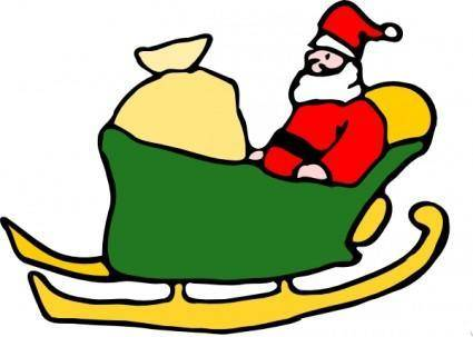free vector Fen Santa In His Sleigh clip art